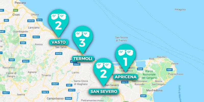 mappa delle sedi ottica vincitorio per mobile